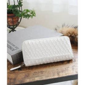ヴィータフェリーチェ VitaFelice 白蛇革ラウンドファスナーロングウォレット/長財布 (ホワイト)