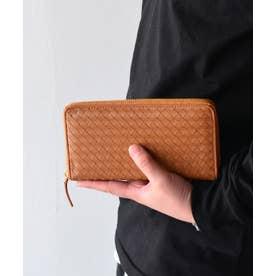 ヴィータフェリーチェ VitaFelice 羊革メッシュラウンドファスナー長財布 (キャメル)