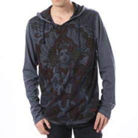 デシグアル Desigual  フード付き 長袖 Tシャツ トップス (グレー ネイビー)