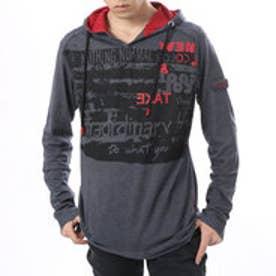 デシグアル Desigual  フード付き 長袖 Tシャツ トップス(グレー)