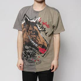 デシグアル Desigual  Tシャツ  トップス(グレーXベージュ)