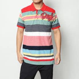 デシグアル Desigual ボーダー柄半袖ポロシャツ (RED)