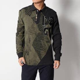 デシグアル Desigual ジップアップ厚手長袖ポロシャツ (BLACK)