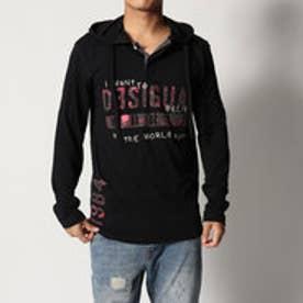 デシグアル Desigual フード付長袖Tシャツ (BLACK)