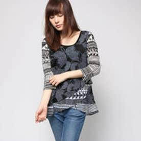 デシグアル Desigual 7分袖 Tシャツ トップス(ブラックXホワイト)
