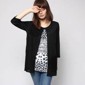 デシグアル Desigual レイヤード Tシャツ (ブラックXアニマル柄)
