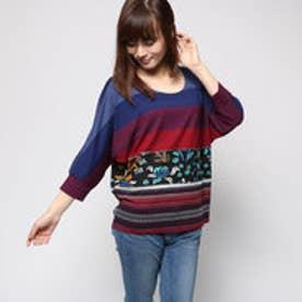 デシグアル Desigual 7分袖 Tシャツ チュニック (ネイビーXレッドXストライプ)