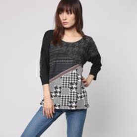 デシグアル Desigual Tシャツ トップス (ブラック ホワイト)