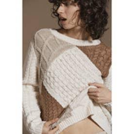 デシグアル Desigual セーター ニット (ホワイトxベージュ)
