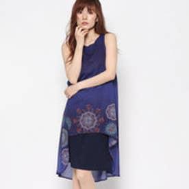 デシグアル Desigual シフォンレイヤードドレス (BLUE)