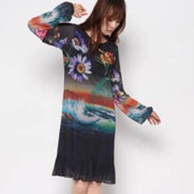 デシグアル Desigual アート柄長袖ドレス (BLACK)