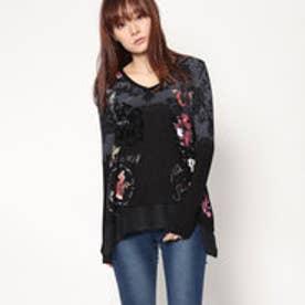 デシグアル Desigual VネックAラインTシャツ (ブラック)