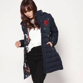 デシグアル Desigual フラワーモチーフ中綿ひざ丈コート (ブルー)