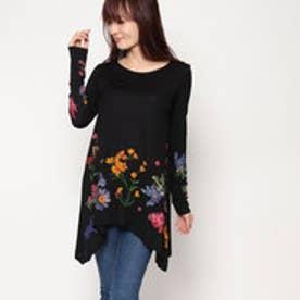 デシグアル Desigual 長袖AラインTシャツ (ブラック)