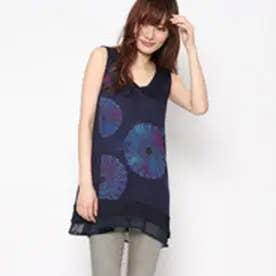 デシグアル Desigual ギャラクティックプリントノースリーブTシャツ (ブルー)