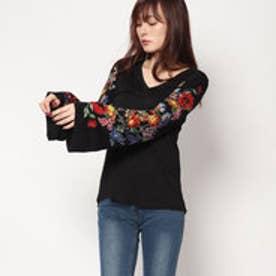 デシグアル Desigual Vネック長袖Tシャツ (ブラック)