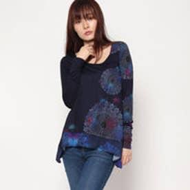 デシグアル Desigual 長袖AラインTシャツ (ブルー)