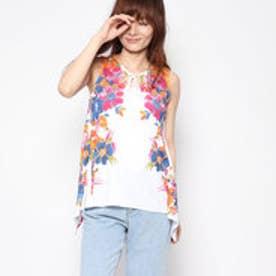 デシグアル Desigual フラワープリントAラインノースリーブTシャツ (ホワイト)