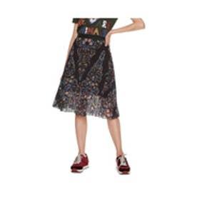 デシグアル Desigual フラワープリントプリーツスカート (ブラック)