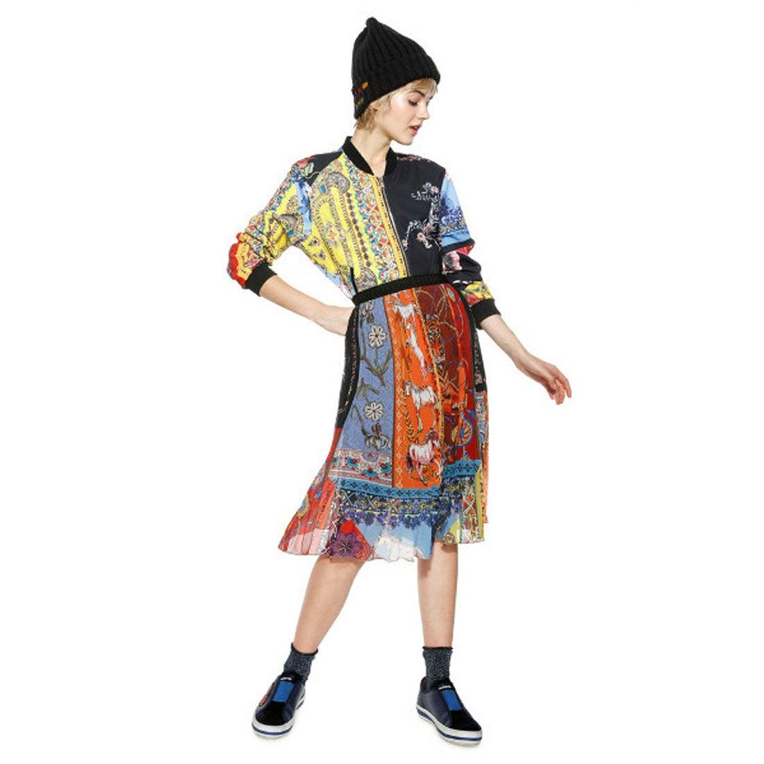 デシグアル Desigual スカーフ柄プリント膝丈プリーツスカート (マルチカラー)