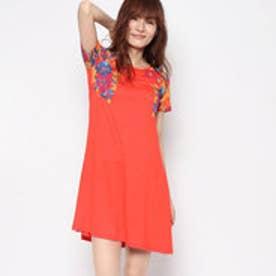 デシグアル Desigual Aラインプリントドレス (オレンジ)