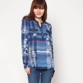 デシグアル Desigual 刺繍入りフラワープリントシャツ (ブルー)