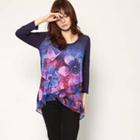 デシグアル Desigual WOMAN KNITTED 3/4 SLEEVE T-SHIRT (Blue)