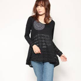 デシグアル Desigual WOMAN KNITTED LONG SLEEVE T-SHIRT (Grey/Black)