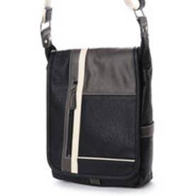 イタリコ ITALICO ジッパーポケット付きバッグ 縦型 ライン入り斜めがけ (ブラック)