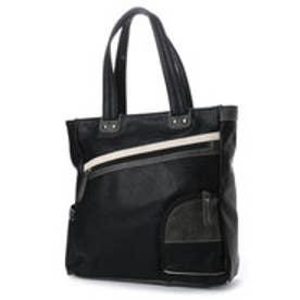 イタリコ ITALICO トートバッグ A4サイズOK ワイドジッパー ポケット付き 縦型 (ブラック)