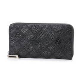イタリコ ITALICO 本革クロコダイル  財布 ワニ革 オールラウンドファスナー (ブラック)