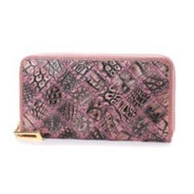 イタリコ ITALICO 本革クロコダイル  財布 ワニ革 オールラウンドファスナー (ピンク)