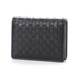 イタリコ ITALICO 日本製 二つ折り財布 シープレザー編み込みメッシュ イントレチャート オールファスナー (ブラック)