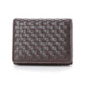 イタリコ ITALICO 日本製 二つ折り財布 シープレザー編み込みメッシュ イントレチャート オールファスナー (ブラウン)