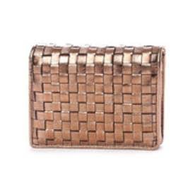 イタリコ ITALICO 日本製 二つ折り財布 シープレザー編み込みメッシュ イントレチャート オールファスナー (ブロンズ)