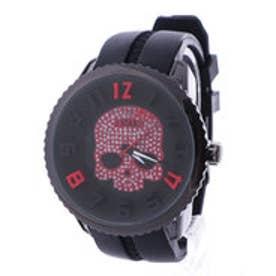 イタリコ ITALICO 【専用ケース付き】3D スカル ドクロデザイン ビッグフェイス腕時計 50mm (A(ブラック/レッド))