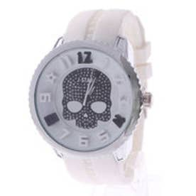イタリコ ITALICO 【専用ケース付き】3D スカル ドクロデザイン ビッグフェイス腕時計 50mm (E(ホワイト/ブラック))