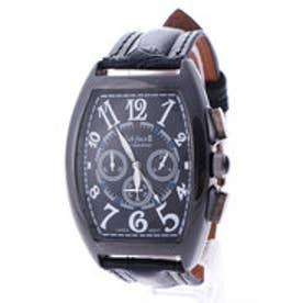 イタリコ ITALICO 【専用ケース付き】クロノグラフ ビッグフェイス腕時計 38mm (C(ブラック&ブラック))