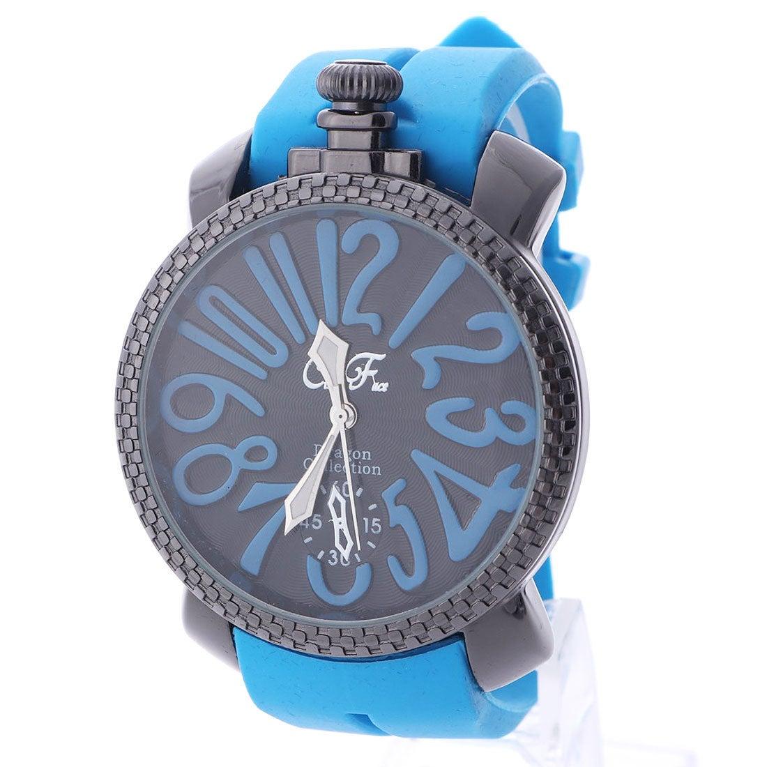 イタリコ ITALICO 【専用ケース付き】トップリューズ式ビッグフェイス腕時計 ラバーベルト47mm (A(ブルー))