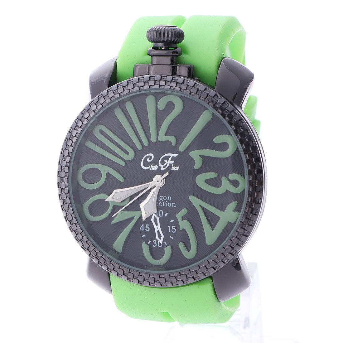 イタリコ ITALICO 【専用ケース付き】トップリューズ式ビッグフェイス腕時計 ラバーベルト47mm (C(グリーン))