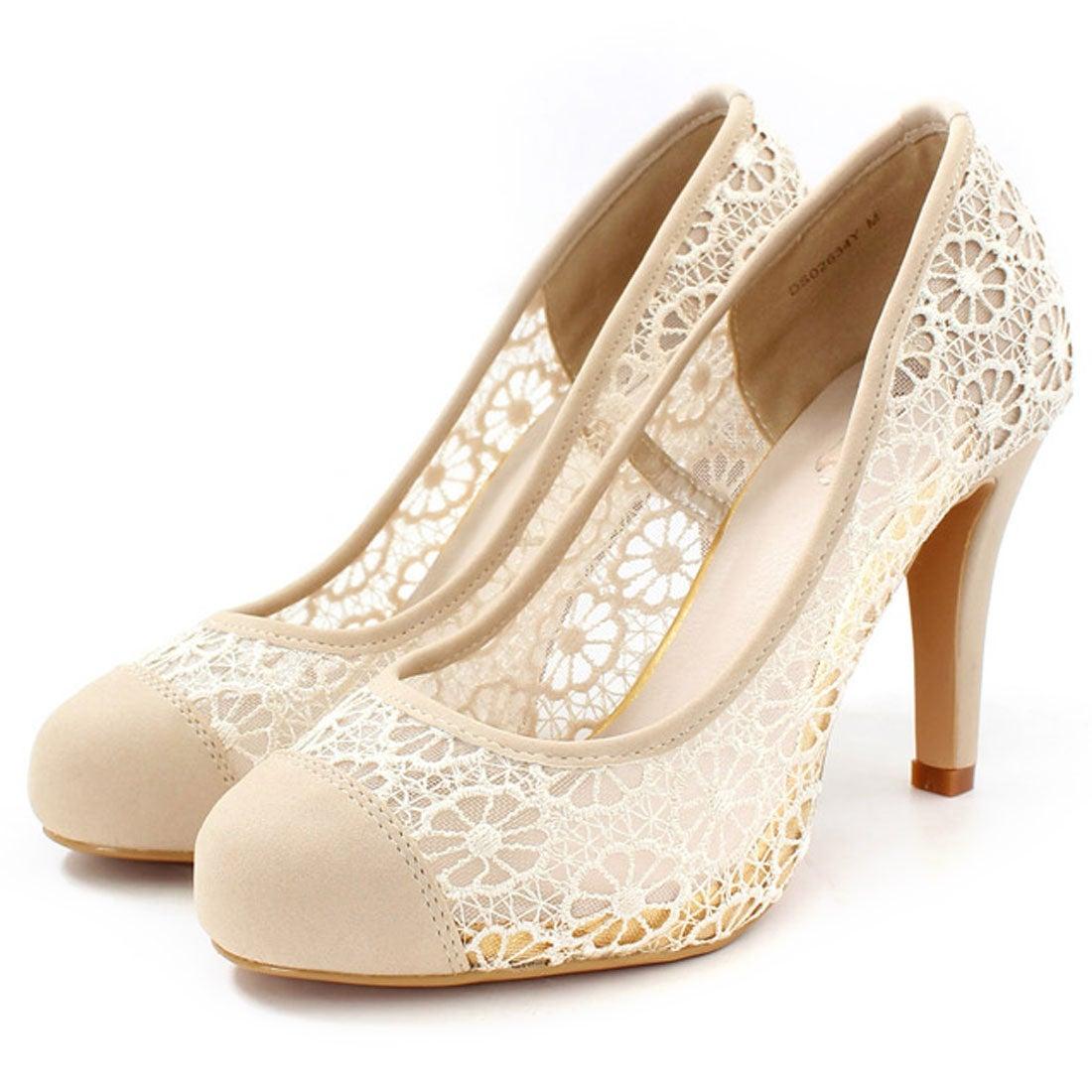 ランダ RANDA トゥキャップレースマテリアルパンプス(ベージュ) ,靴とファッションの通販サイト ロコンド