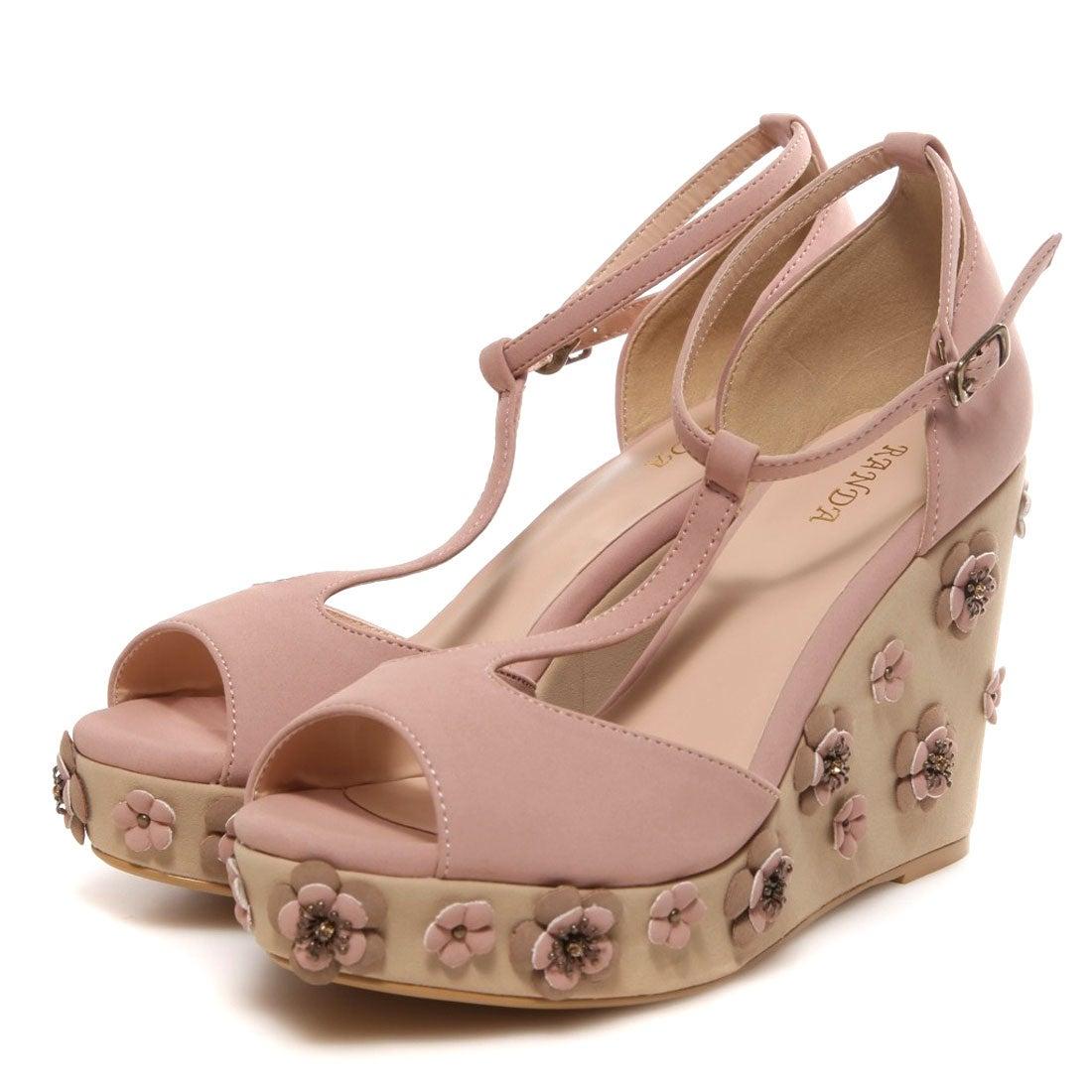 ランダ RANDA Tストラップフラワーウェッジサンダル(ピンク) ,靴とファッションの通販サイト ロコンド