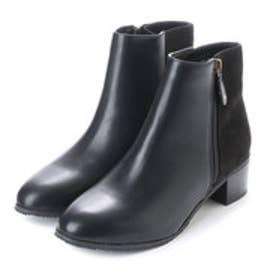 ランダ RANDA 【ストレスフリー】【晴雨兼用】マテリアルコンビショートブーツ (BLACK)