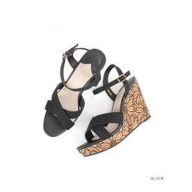 ランダ RANDA フラワー刺繍サンダル (BLACK)