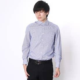 大丸・松坂屋 カミチッシマ Camicissima スーパースリムフィット 長袖ワイドカラーシャツ (ブルー)