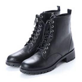 ピック アンド ペイ PIC & PAY 本革 ローヒール タンクソール 編み上げ ショート ブーツ (ブラック)