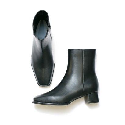 スクエアトゥ ベーシック ブーツ (ブラック スムース)
