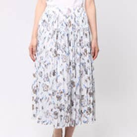 ローズペッシュ RosePeche Rose Peche 華やかフラワープリントプリーツスカート (オフホワイト)