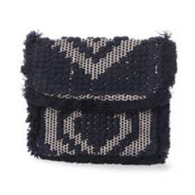 カンカン KANKAN コットンポコポコ手織りクラッチバッグ (ネイビー)