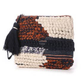 カンカン KANKAN コットンポコポコ手織りポーチ (ネイビー)